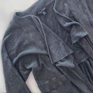 Eileen Fisher Gray Waterfall Open Front Cardigan M